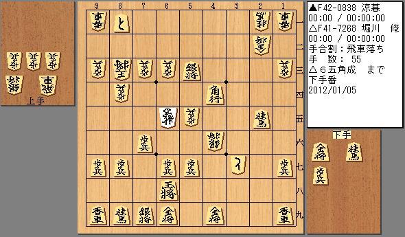 20120105 堀川五段 飛車落ち 55手目