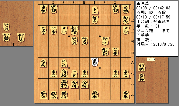 2013/01/20 堀川五段 飛車落ち 61手目